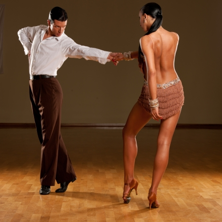 salsa dance: latino dance couple in action Stock Photo