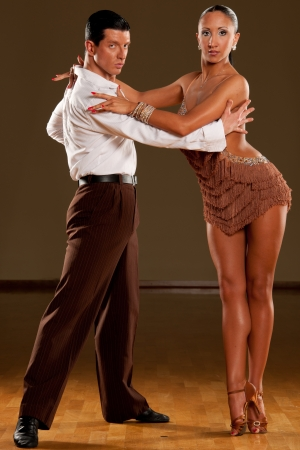 rumba: latino dance couple in action Stock Photo
