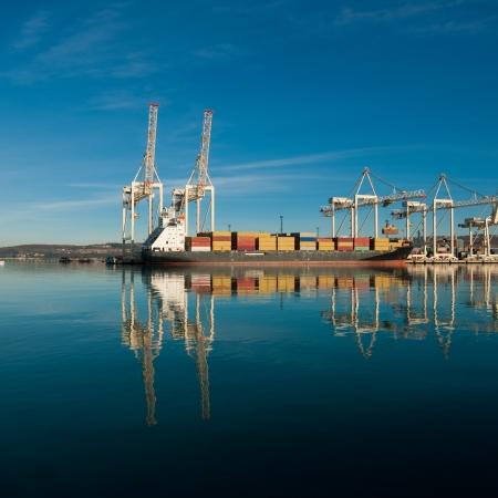 Cargo zeehaven. Zeevracht kranen. Zee.