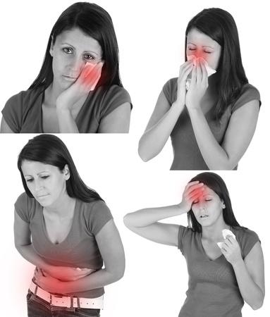 Sick girl - dolor de cabeza, dolor de muelas, dolor de estómago, gripe, Foto de archivo