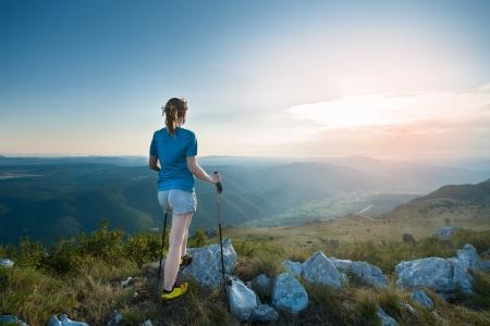 Girl hiking on mountains