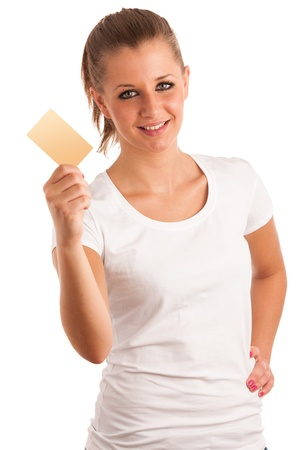 Beautiful young woman with credit card Stock Photo - 21527017