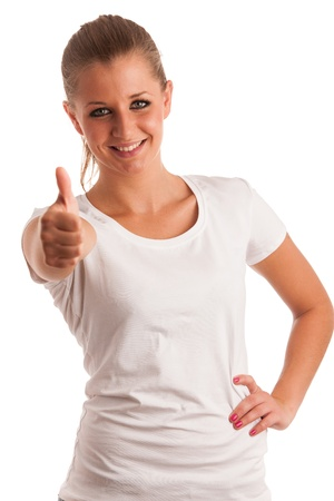 Beautiful young woman with blue eyes showing thumb up Stock Photo - 21852959