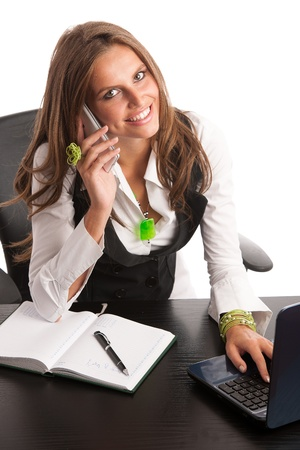 Preety business secretarry woman working in office isolated over white background Stock Photo - 21853133