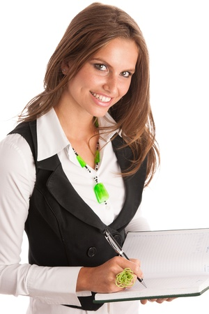 preety: Preety business secretarry woman working in office isolated over white background