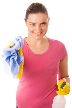 Young woman cleaning dust isolated over white photo