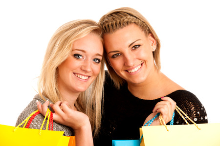 preety: Two preety girls with shopping bags