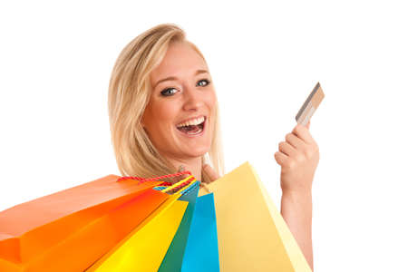Attractive young woman with colorful shopping bags photo