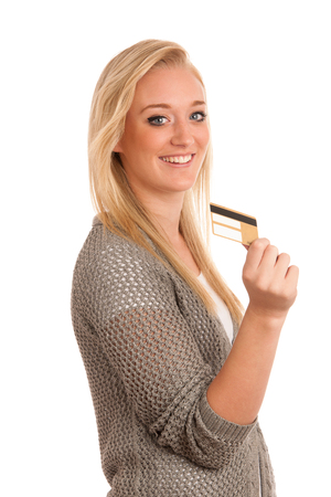 Young woman with golden credit isolated over white Stock Photo - 22603387