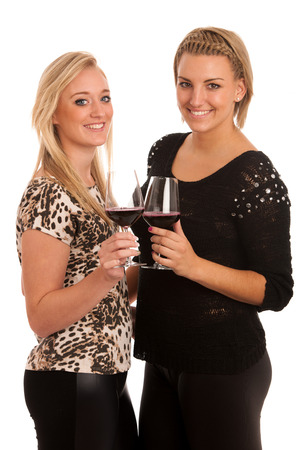 Toast - two girls with glass of wine isolated photo