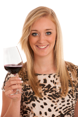 Young woman with a glass of wine photo