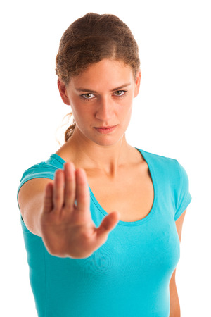Angry woman gesture stop sign isolated over white photo