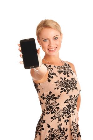 Schöne junge Frau mit snartphone über weißem Hintergrund Standard-Bild - 22889748