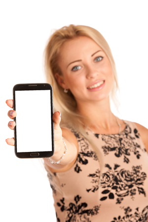 Beautiful young woman with snartphone isolated over white background photo