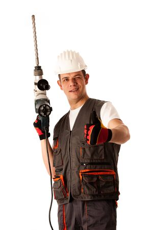 Construction worket with drilling machine isolated over white background photo