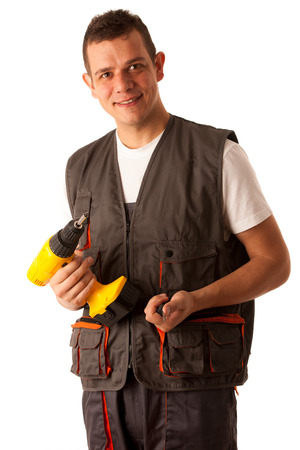 Young mechanic isolated over white background photo