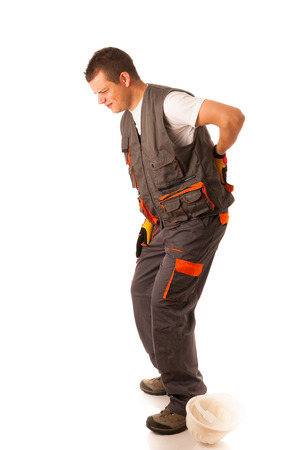 men   back: Injury on work - construction worker suffering hard pain in his back Stock Photo