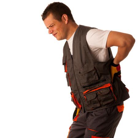 일에 상해 - 자신의 뒤쪽에있는 건설 노동자는 고통 어려운 고통