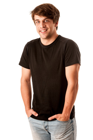 Young man in black tshirt isolated over white background Stock Photo