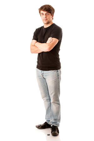 Young man in black tshirt isolated over white background photo