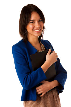 Attractive asian caucasian business woman holding a folder in her hands photo