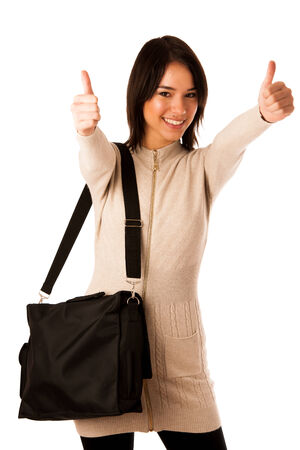 Attractive asian caucasian woman student  with briefcase showing thumb up isolated over white  photo