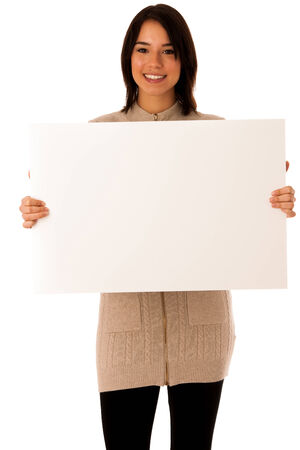 Beautiful young asian caucasian woman with whiteboard isolated over white  photo