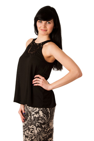Cheerful woman in black tshirt isolated over white background photo