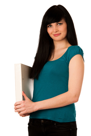 young woman student with schoolbag and folder isolated over white Stock Photo - 27331392