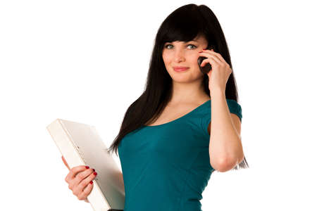 woman student with schoolbag and folder talking on cellphone Stock Photo - 27540455