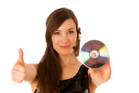 Young beautiful woman DJ with cd in her hand isolated photo