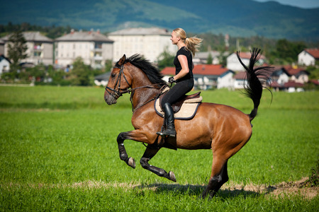 Beautiful young blonde woman riding a horse on a farm photo