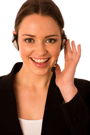 Preety happy asian caucasian business woman with headset isolated