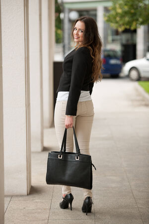 Preety woman walking outdoor in the city