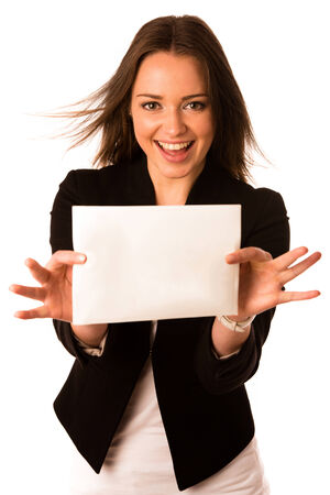 Preety assian caucasian woman holding a white card isolated