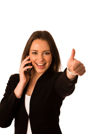 Preety asian caucasian business woman gesturing success showing thumb up isolated over white photo