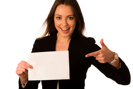 preety: Preety assian caucasian woman holding a white card isolated