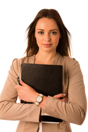 beautiful asian caucasian woman holds a folder isolated photo