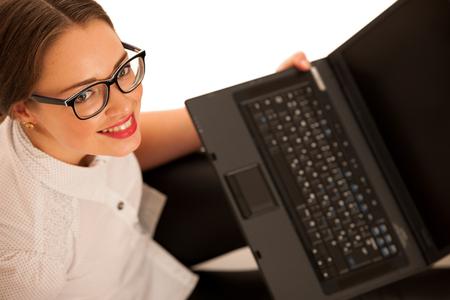 Happy caucasian girl  with laptop photo