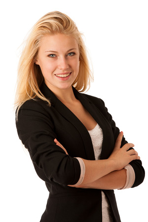 ed54bcc379e3 Business-Frau In Einem Weißen Hemd Und Schwarzen Rock Mit Armen ...