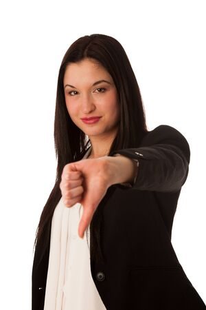 Asian business woman showing thumb down isolated over white background photo