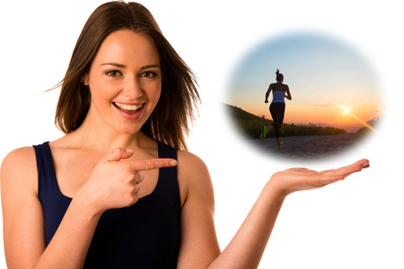 Happy asian caucasian woman holds hand in copyspace isolated over white photo