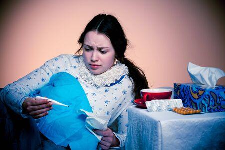 Asian caucasian woman with flu photo