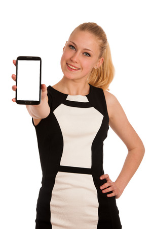 Beautiful young caucasian business woman with smartphone communicating photo