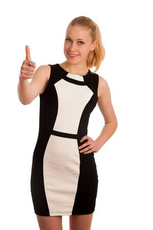successfull: Portrait ov a beautiful young blond caucasian business woman in black and white garment isolated over white background