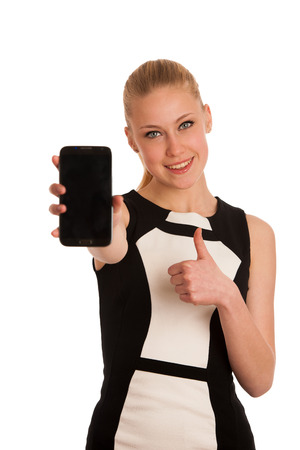 attractive  female: Beautiful young caucasian business woman with smartphone Stock Photo