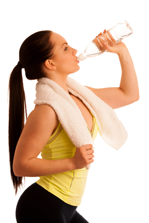 after work: woman with towel after work out in fitness