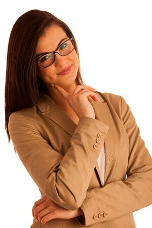 attractive  female: portrait of attractive business woman with glasses, isolated on white, studio