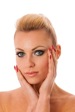 blonde girls: Portrait of woman with perfect makeup gesturing with hands purity, freshness, beauty.