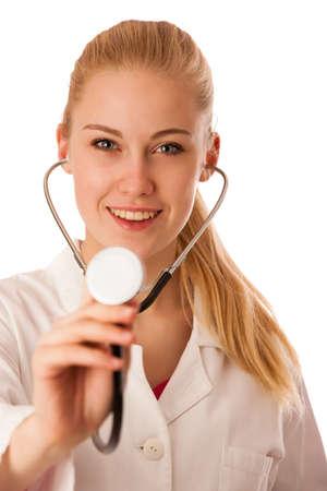 persona enferma: Mujer m�dico escuchar Pulsaciones con el estetoscopio.